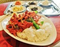 Nötköttbulgogi och ris med banchan Arkivfoto