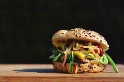 Nötkötthamburgare med grönsaker och ost Fotografering för Bildbyråer