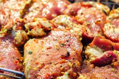 Nötköttköttbiffar Ny rå griskötthals för biff med örtkryddor på ett grillfestgaller royaltyfri foto