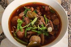 Nötköttsoppa med örten och kryddigt royaltyfria foton