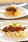 nötköttspagetti Arkivbilder