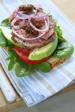nötköttsteksmörgås Royaltyfria Foton