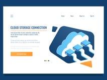 Núblese el almacenamiento de datos, la tecnología remota, la conexión del establecimiento de una red, el acceso del recurso compa libre illustration