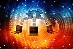 Núblese el concepto computacional en la representación digital del fondo 3d Imagen de archivo