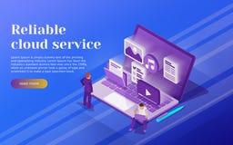 Núblese el concepto isométrico plano del negocio 3d del almacenamiento de datos y del acceso a datos del telecontrol Soporte de l libre illustration