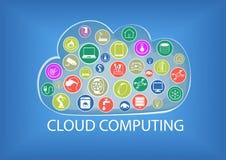 Núblese el ejemplo computacional incluyendo la conectividad de diversos dispositivos stock de ilustración