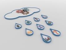 Núblese el fondo computacional del concepto 3D con gotas y símbolos de lluvia stock de ilustración