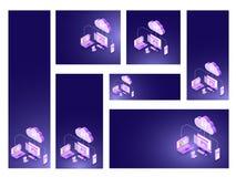 Núblese el jefe o la bandera basado concepto del sitio web del almacenamiento fijada en diff libre illustration