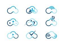 Núblese el logotipo, nubes que computan los logotipos del concepto, diseño del vector del ejemplo del logotipo del businness del  Imagen de archivo libre de regalías