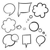 Núblese el sistema dibujado mano del negro del pensamiento de las burbujas de Imagen de archivo libre de regalías