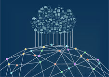 Núblese la computación conectada con el World Wide Web/Internet ilustración del vector