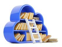 Núblese la computación y almacene el concepto con el estante azulado, escalera Imagen de archivo libre de regalías