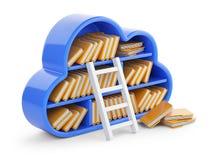 Núblese la computación y almacene el concepto con el estante, la escalera y las FO azulados Imagenes de archivo