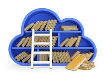 Núblese la computación y almacene el concepto con el estante, la escalera y las FO azulados Foto de archivo libre de regalías