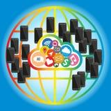 Núblese la red del concepto del teléfono móvil en global Foto de archivo libre de regalías