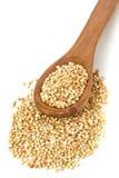 Núcleos crus, naturais, crus da semente do trigo mourisco na colher de madeira Fotografia de Stock Royalty Free