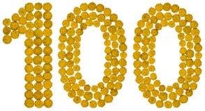 Número árabe 100, ciento, de las flores amarillas del tansy, i Imágenes de archivo libres de regalías