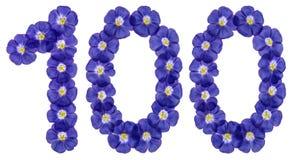 Número árabe 100, ciento, de las flores azules del lino, aislador Fotos de archivo