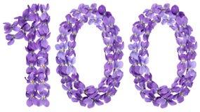 Número árabe 100, ciento, de las flores de la viola, aisladas Imagenes de archivo