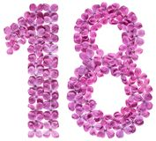 Número árabe 18, dieciocho, de las flores de la lila, aisladas encendido Imagen de archivo