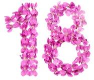 Número árabe 18, dieciocho, de las flores de la viola, aisladas encendido Imagen de archivo libre de regalías