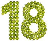 Número árabe 18, dieciocho, de los guisantes verdes, aislados en blanco Fotografía de archivo