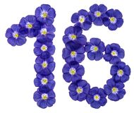 Número árabe 16, dieciséis, de las flores azules del lino, aisladas Fotos de archivo libres de regalías