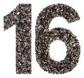 Número árabe 16, dieciséis, de negro un carbón de leña natural, isola Imagen de archivo