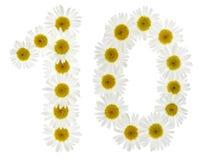 Número árabe 10, diez, de las flores blancas de la manzanilla, aislante Imágenes de archivo libres de regalías
