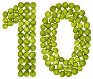 Número árabe 10, diez, de los guisantes verdes, aislados en el backg blanco Fotografía de archivo