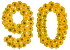 Número árabe 90, noventa, de las flores amarillas del ranúnculo, ISO Fotos de archivo libres de regalías
