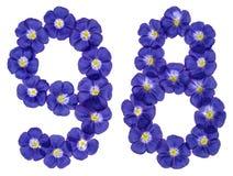 Número árabe 98, noventa y ocho, de las flores azules del lino, aislador Foto de archivo