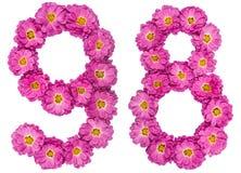 Número árabe 98, noventa y ocho, de las flores del crisantemo, Fotografía de archivo