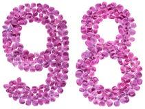 Número árabe 98, noventa y ocho, de las flores de la lila, aisladas Fotos de archivo libres de regalías