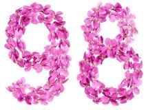Número árabe 98, noventa y ocho, de las flores de la viola, aisladas Fotografía de archivo libre de regalías