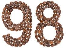 Número árabe 98, noventa y ocho, de los granos de café, aislados encendido Imagen de archivo