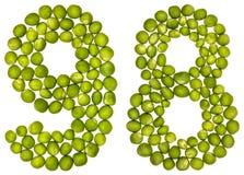 Número árabe 98, noventa y ocho, de los guisantes verdes, aislados en wh Fotos de archivo libres de regalías