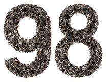 Número árabe 98, noventa y ocho, de negro un carbón de leña natural, Foto de archivo