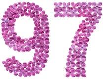 Número árabe 97, noventa y siete, de las flores de la lila, aisladas Fotos de archivo