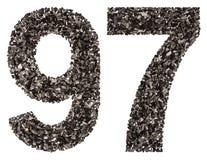 Número árabe 97, noventa y siete, de negro un carbón de leña natural, Imagen de archivo