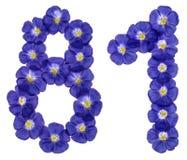 Número árabe 81, ochenta uno, de las flores azules del lino, isolat Foto de archivo libre de regalías