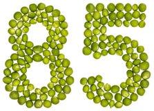 Número árabe 85, ochenta y cinco, de los guisantes verdes, aislados en whi Fotos de archivo
