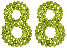 Número árabe 88, ochenta y ocho, de los guisantes verdes, aislados en wh Fotos de archivo