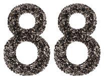 Número árabe 88, ochenta y ocho, de negro un carbón de leña natural, Imágenes de archivo libres de regalías