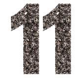 Número árabe 11, once, de negro un carbón de leña natural, isolat Fotos de archivo libres de regalías