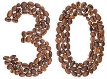Número árabe 30, treinta, de los granos de café, aislados en blanco imágenes de archivo libres de regalías
