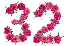 Número árabe 32, treinta y dos, de las flores rojas de la rosa, aislante Foto de archivo
