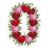 Número 0 - Corazón de la tarjeta del día de San Valentín Fotografía de archivo
