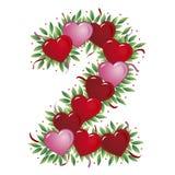 Número 2 - Corazón de la tarjeta del día de San Valentín stock de ilustración