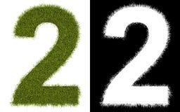 Número 2 de la hierba con el canal alfa Imágenes de archivo libres de regalías